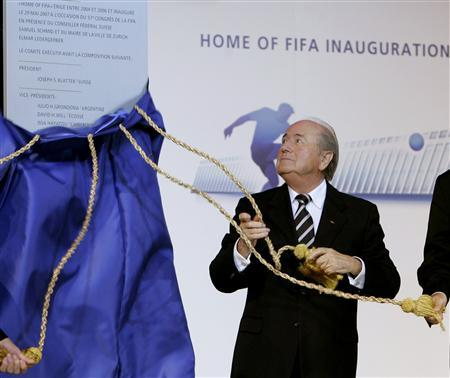 FIFA president Sepp Blatter inaugurates the FIFA headquarters in Zurich, May 29, 2007. REUTERS/Christian Hartmann