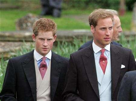 Britain's Prince Harry (L) and Prince William (R) leave following the wedding of Laura Parker Bowles and Harry Lopes at St Cyriac's Church in Lacock, in Wiltshire, west England, May 6, 2006. The princes were said on Wednesday to be extremely disappointed that a British television channel ignored their pleas not to screen graphic photos in a documentary about her death in a Paris car crash 10 years ago. REUTERS/Toby Melville