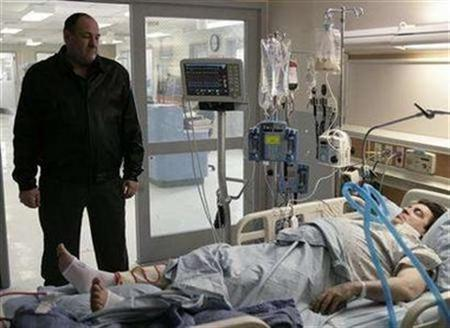 A publicity photo from ''The Sopranos'' shows James Gandolfini (L) and Steven Van Zandt in a scene from the series finale of the HBO drama television series. Fans of ''The Sopranos'' are seizing on clues suggesting the controversial blackout which abruptly ended the TV mob drama meant that Tony Soprano was rubbed out, and HBO said on Thursday they may be on to something. REUTERS/Craig Blankenhorn/HBO/Handout