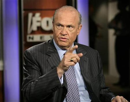 Former Republican Senator from Tennessee Fred Thompson appears on Fox News channel's ''Hannity and Colmes'' in Washington, June 5, 2007. Thompson leads Republican presidential contenders for the first time, according to a Rasmussen poll released on Tuesday. REUTERS/Yuri Gripas