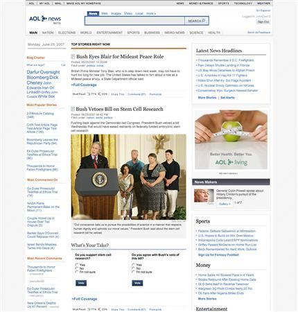 The overhauled AOL news portal in an undated image courtesy of the company. REUTERS/AOL/Handout