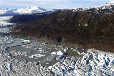 A handout photograph taken on July 2, 2007 and released by the Chilean Navy shows an unnamed lake located between the Tempanos and Bernardo glaciers that had suddenly drained a few weeks ago but is now beginning to fill up again, on the border of the Aisen and Magallanes provinces of southern Chile. A scientific team discovered that the lake had misteriously disappeared, believed to have drained towards the Pacific Ocean when a breach appeared in one of its natural containing walls, but that it began to fill up again as winter sets in and the glaciers' edges have frozen solid. REUTERS/Armada de Chile/Handout