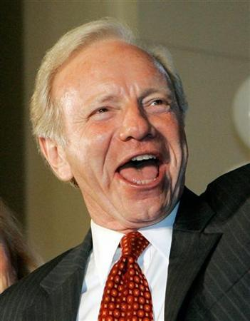 Senator Joseph Lieberman cheers while conceding the democratic primary election to challenger Ned Lamont and announcing that he will run as an independent candidate in front of a crowd of supporters in Hartford, Connecticut, in this August 8, 2006 file photo. Lieberman, an independent who supports Democrats in Congress despite his backing of the Iraq war, said on Thursday he was not ruling out endorsing a Republican in the White House race. REUTERS/Brian Snyder/Files