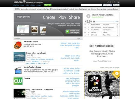 A screenshot of Imeem.com, taken on July 12, 2007. Warner Music Group Corp said on Thursday it is dropping its copyright infringement lawsuit against Imeem, a music-based social networking site, and will instead partner with the start-up. REUTERS/www.imeem.com