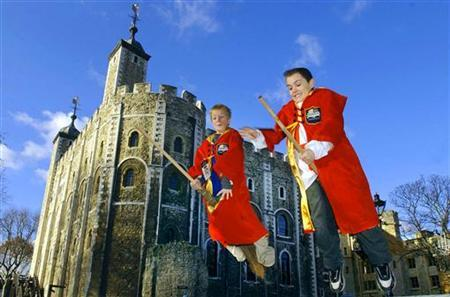 In this file photo, Britain's Ryan Quinn from Newcastle (R) and Will Henderson (L) from Colorado Springs play on broomsticks at the Tower of London where they were taking part in the Harry Potter Quidditch world cup video game finals, December 21, 2003. Stephen Dewey, a student at Bucknell University in Lewisburg, Pennsylvania, organizes the campus Quidditch club of about 40 Potter devotees imitating the aerial game of the book series. REUTERS/ David Bebber
