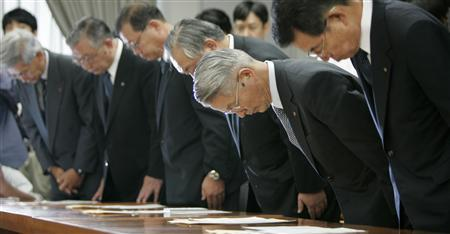 Tokyo Electric Power Co. President Tsunehisa Katsumata (2nd R) bows with Kansai Electric Power Co. President Shosuke Mori (R), Hokuriku Electric Power Co. President Isao Nagahara (3rd R), Chubu Electric Power Co. President Toshio Mita, (3rd L), Tohoku Electric Power Co. President Hiroaki Takahashi (2nd L) and Hokkaido Electric Power Co. President Tatsuo Kondo after Economy, Trade and Industry Minister Akira Amari ordered the nation's 11 nuclear power utilities to make strict checks on safety in accordance with new guidelines set up last year in Tokyo July 20, 2007. Japanese regional authorities have called for United Nations inspectors to look into the radiation leaks at the world's largest nuclear plant, caused by a powerful earthquake this week, media reports said on Sunday. REUTERS/Yuriko Nakao