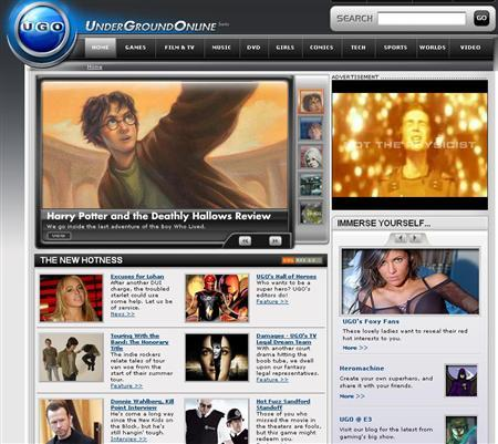 A screen grab of UGO.com. Publisher Hearst Corp., seeking a bigger chunk of the male Internet audience, will acquire Ugo Networks Inc., a network of Web sites devoted to video games, movies and other entertainment, the company said on Tuesday. REUTERS/www.ugo.com