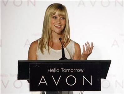 Actress Reese Witherspoon speaks after it was announced that she will serve as Avon Products, Inc. first ever Global Ambassador during a news conference in Beverly Hills, California August 1, 2007. Witherspoon's duties will include being the spokeswoman for Avon's beauty products and serving as honorary chairman of the Avon Foundation which focuses on initiatives on breast cancer and domestic violence. REUTERS/Fred Prouser