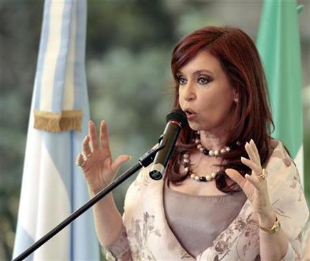 Argentina's first lady Cristina Fernandez de Kirchner speaks during a visit to Argentina's embassy in Mexico City July 31, 2007. Argentina's first lady and front-runner in the October presidential election rejected on Wednesday comparisons with U.S. presidential hopeful Hillary Clinton despite both women's hopes to follow their husbands into office. REUTERS/Henry Romero