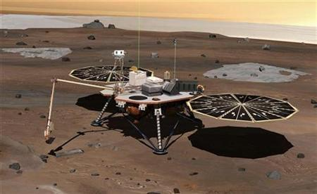 This artist's impression of NASA's next Mars mission, NASA's Phoenix Mars Lander is shown in this undated photograph released by NASA on July 26, 2007. The probe, that will analyse Mars for water and other chemicals needed for life, is on track for launch aboard an unmanned Delta rocket on Saturday, NASA officials said on Thursday. REUTERS/NASA/Handout