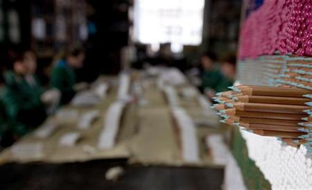 Color pencils are seen as workers polish them with acetone at the Viarco factory in Sao Joao da Madeira, northern Portugal, April 10, 2007. A 59-year-old German woman has had most of a pencil removed from inside her head after suffering nearly her whole life with the headaches and nosebleeds it caused, Bild newspaper reported Monday. REUTERS/Nacho Doce