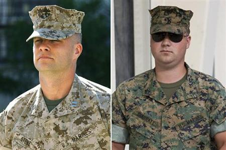 A combination image showing Capt. Randy Stone (L) and Lance Cpl. Justin Sharratt. The U.S. military dropped charges on Thursday against Stone and Sharratt, two Marines charged in connection with the 2005 deaths of 24 unarmed civilians in Haditha, Iraq. REUTERS/Mike Blake (L)/Fred Greaves (R)