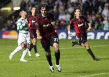 <p>Kaká, do Milan, comemora gol em partida contra o Celtic durante a Liga dos Campeões em Glasgow. O centroavante brasileiro Kaká foi eleito o melhor jogador do mundo em 2007 pela entidade FIFPro, numa escolha em que foi decisiva sua participação na conquista do sétimo troféu europeu do seu time, em maio. Photo by Nigel Roddis</p>