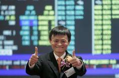 <p>Jack Ma, presidente do conselho e fundador do Alibaba.com, no dia da estreía das ações da empresa, em Hong Kong. As ações da Alibaba.com quase triplicaram de valor em sua estréia em bolsa nesta terça-feira, depois que a maior empresa de comércio eletrônico da China levantou 1,49 bilhão de dólare. Photo by Stringer</p>