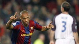 <p>- Thierry Henry e Lionel Messi marcaram ainda no primeiro tempo os gols da vitória por 2 x 0 do Barcelona sobre o Rangers na quarta-feira, no Nou Camp, pelo Grupo E da Liga dos Campeões. Foto de Henry em Barcelona, 7 de novembro. Photo by Albert Gea</p>
