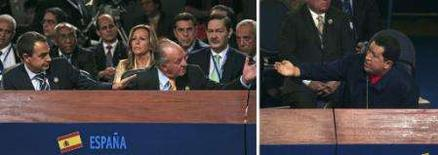 <p>Confronto entre rei espanhol e Chávez encerra cúpula no Chile em Santiago. A 17a Cúpula Ibero-Americana chegou ao fim no sábado com uma disputa pública entre o rei da Espanha e o presidente venezuelano, deixando longe a imagem de coesão que o encontro visava. 10 de novembro. Photo by Reuters (Handout)</p>