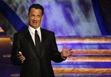 <p>Actor Tom Hanks gestures during the 22nd American Cinematheque Award ceremony in Beverly Hills, California Oct. 12, 2007. REUTERS/Mario Anzuoni</p>