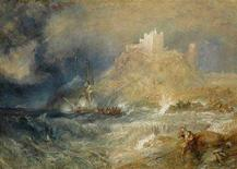 <p>British artist JMW Turner's 'Bamborough Castle' is seen in this undated handout from Sotheby's auctioneers in London in this handout picture released December 5, 2007. The watercolour, which has not been seen in public for more than a century and listed as lost, has been sold to an American collector for nearly double the pre-auction estimate of 1.5 million pounds ($3 million). REUTERS/Sotheby's/Handout EDITORIAL USE ONLY. NOT FOR SALE FOR MARKETING OR ADVERTISING CAMPAIGNS. NO SALES. NO ARCHIVES.</p>