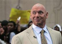 <p>World Wrestling Entertainment owner Vince McMahon looks out at the crowd during a segment of NBC's 'Today' show in New York April 2, 2007. REUTERS/Brendan McDermid</p>