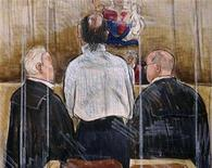 <p>Accused serial killer Robert Pickton (C) stands before Justice James Williams (background) in a New Westminster, British Columbia court in this courtroom sketch December 9, 2006. REUTERS/Felicity Don</p>