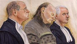 <p>An artist's sketch shows accused serial killer Robert Pickton (C) in court with lawyers Adrian Brooks (L) and Peter Ritchie in New Westminster, British Columbia. Pickton, a Canadian pig farmer, was convicted on December 9, 2007 of the serial killings of six women whose bodies were butchered like animals in his farm's slaughterhouse. REUTERS/Felicity Don</p>