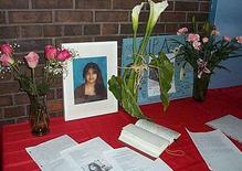 <p>A memorial for Aqsa Parvez is set up at Applewood Heights S.S. in Mississauga, in this undated handout photo. The teenager who was said to have clashed with her father about whether she should wear a traditional Muslim head scarf died of injuries late on Monday, and her father told police he had killed her. REUTERS/Handout/ Peel District School Board.</p>