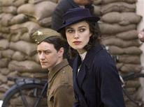 "<p>Actors James McAvoy (L) and Keira Knightley are shown in a scene from the film ""Atonement"" in this undated publicity photograph. ""Atonement"" received a total of seven Golden Globe nominations, the most for any film including best drama film, as nominations were announced in Beverly Hills, California December 13, 2007. The Golden Globe Awards, which were presented by the Hollywood Foreign Press Association, will be held in Beverly Hills January 13, 2008. REUTERS/Focus Features/Handout</p>"