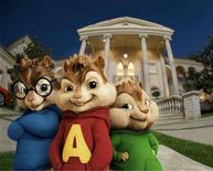 "<p>Animated characters from the film ""Alvin and the Chipmunks"", Simon (L), Alvin (C) and Theodore, in an image courtesy of 20th Century Fox. REUTERS/Handout</p>"