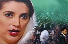 <p>Un uomo passa vicino a un poster di Benazir Bhutto vicino al luogo del suo assassinio a Rawalpindi. REUTERS/Ahmad Masood (PAKISTAN)</p>