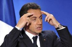 <p>O presidente francês, Nicolas Sarkozy, durante discurso de Ano Novo em Paris. Sarkozy propôs na terça-feira acabar com a propaganda nas TVs públicas e impor uma taxação sobre as receitas de publicidade dos canais privados como forma de compensar a perda de arrecadação das emissoras estatais. Photo by Philippe Wojazer</p>