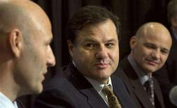 <p>Francesco Aquilini (C) owner of the Vancouver Canucks sits with his brothers Roberto (L) and Paulo during the a news conference in Vancouver, British Columbia January 10, 2008. A judge refused on Thursday to overturn the sale of the Canucks, dismissing the claims of two men that they were unfairly frozen out of the deal. REUTERS/Andy Clark</p>