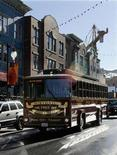 <p>The Main Street trolley which provides transportation for attendees of the 2007 Sundance Film Festival travels on Main Street in Park City, Utah January 22, 2007. Hollywood's independent filmmakers take a strike break starting on Thursday when the Sundance Film Festival launches its annual showcase of movies made outside the big studios, now embroiled in a labor dispute with screenwriters. REUTERS/Fred Prouser</p>