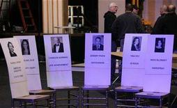 <p>Seat placecards for actors (L-R) Russell Crowe, Angelina Jolie, Charles Durning, Jeremy Piven, Tina Fey and Nikki Blonsky are shown during a media opportunity for the 14th annual Screen Actors Guild Awards in Los Angeles January 25, 2008. REUTERS/Sam Mircovich</p>