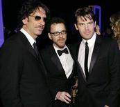 <p>Directors Joel Coen and Ethan Coen with star Josh Brolin (L-R) from 'No Country for Old Men' attend the 14th annual Screen Actors Guild Awards in Los Angeles January 27, 2008. REUTERS/Danny Moloshok</p>