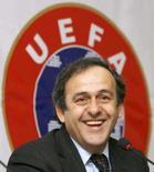 <p>O presidente da UEFA, Michel Platini, durante conferência em março de 2007. Polônia e Ucrânia foram avisadas pelo presidente da Uefa, Michael Platini, nesta quarta-feira, para acelerarem os preparativos visando a Eurocopa de 2012. Photo by David Mdzinarishvili</p>
