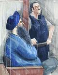 <p>An artist's sketch shows Inderjit Singh Reyat (L) appearing in BC Supreme Court in Vancouver, British Columbia, March 27, 2006. Canadian prosecutors and a lawyer for the only person convicted for the 1985 Air India bombings played coy on Wednesday on whether he would plead guilty to lying about the plot in court. REUTERS/Felicity Don</p>