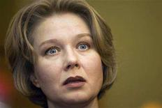 <p>Actress Darya Mikhailova, female lead in a romantic movie about the rise of a politician resembling the life of Russian President Vladimir Putin, speaks during a news conference in Moscow February 5, 2008. A young KGB spy falls in love with an air hostess called Lyudmila and then conquers the Kremlin. Sounds familiar? The plot of Russia's latest film bears a remarkable resemblance to the life of President Vladimir Putin. Mikhailova plays Putin's wife Lyudmila Putina. REUTERS/Thomas Peter</p>