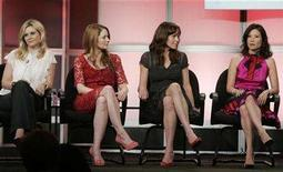 "<p>Actresses (L-R) Bonnie Somerville,Miranda Otto, Frances O'Connor and Lucy Liu, stars of the new series ""Cashmere Mafia"" take part in a panel discussion at the ABC television network Summer press tour for television critics in Beverly Hills, California July 25, 2007. REUTERS/Fred Prouser</p>"