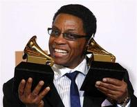"<p>Herbie Hancock holds his two Grammys that he won for Best Contemporary Jazz Album and Album of the Year for ""River: The Joni Letters"" at the 50th Annual Grammy Awards in Los Angeles February 10, 2008. REUTERS/Lucy Nicholson</p>"