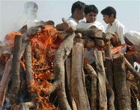 <p>Family members attend the funeral of Maharishi Mahesh Yogi in the northern Indian city of Allahabad February 11, 2008. The embalmed body of Yogi, the Indian mystic and Beatles' guru who helped bring transcendental meditation to the West, was cremated on Monday on a huge pyre of sandalwood by India's holiest river. REUTERS/Jitendra Prakash</p>