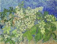<p>Una riproduzione del quadro di Vincent Van Gogh 'Blossoming Chestnut Branches', dipinto nel 1890, che è stato rubato ieri al museo di Zurigo. REUTERS</p>