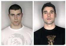 <p>The police booking photos of Montreal Canadiens NHL hockey players Tom Kostopoulos (L) and Ryan O'Byrne are seen after the two were arrested at a Tampa bar on February 10, 2008, in this combination photo. O'Byrne, a rookie defenseman was charged with grand theft after being accused of stealing a woman's purse while Kostopoulos, a forward, was arrested for interfering with police during his teammate's arrest, police said. REUTERS/Hillsborough County Sheriff's Office/Handout</p>