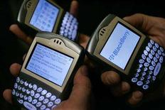 "<p>Blackberry devices are used in Los Angeles March 3, 2006. E-mail service of Research In Motion's BlackBerry smartphones experienced a ""critical severity outage"" on Monday, the company told clients in an e-mail. REUTERS/Mario Anzuoni</p>"
