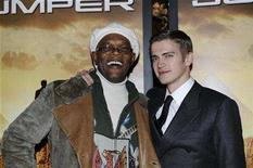 "<p>Samuel L. Jackson (L) and Hayden Christensen attend the premiere of the movie ""Jumper"" at the Zeigfeld Theater in New York February 11, 2008. REUTERS/Marko Georgiev</p>"