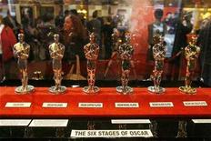 "<p>The six stages an Oscar statuette goes through before it is finished can be seen at a ""Meet The Oscars"" display in Times Square, New York February 15, 2008. REUTERS/Lucas Jackson</p>"
