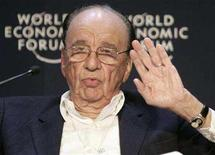 <p>Media tycoon Rupert Murdoch addresses a session of the World Economic Forum (WEF) in Davos January 24, 2008. Sky Italia, owned by Murdoch's News Corp, has won the Italian broadcasting rights to the Vancouver Winter Olympics in 2010 and the London Summer Olympics in 2012 and is looking for a free-to-air partner, it said on Monday. REUTERS/Denis Balibouse</p>