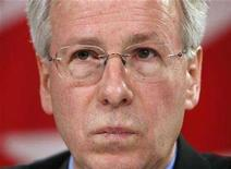 <p>Liberal leader Stephane Dion listens to a question during a news conference in Ottawa, February 12, 2008. REUTERS/Chris Wattie</p>