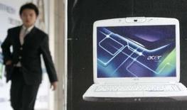 <p>Le taïwanais Acer, troisième fabricant mondial de PC, a obtenu le feu vert de l'Union européenne pour racheter son concurrent européen Packard Bell, basé à Paris. /Photo d'archives/REUTERS/Pichi Chuang</p>