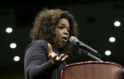 "<p>Talk show host Oprah Winfrey speaks in Los Angeles, California, February 3, 2008. The first oddity (but certainly not the last) about the eight-week Oprah Winfrey infomercial ""Oprah's Big Give"" is that there is nary a single genuine giving moment to be found during the opening hour. REUTERS/Danny Moloshok</p>"