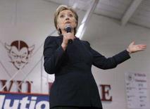 <p>A pré-candidata democrata à presidência dos EUA, Hillary Clinton, durante campanha em Ohio. Photo by Shannon Stapleton</p>